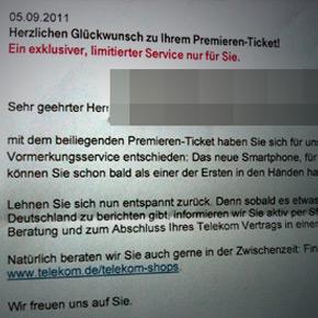 Memo Deutsche Telecom (preorder iPhone 5)