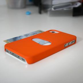 Oranje hoesje met pashouder (achterkant)