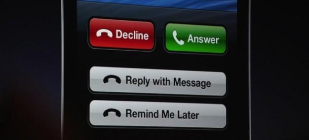 iOS 6: Phone antwoordopties