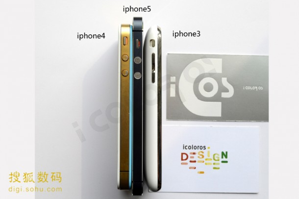 Verschil iPhone 3, 4 en 5 zijkant