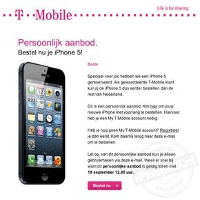 T-Mobile stuurt klanten 'persoonlijk aanbod' voor iPhone 5