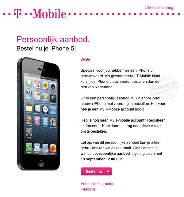 T-Mobile Persoonlijk aanbod: bestel nu je iPhone 5