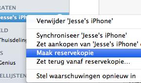 Reservekopie iTunes