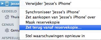 Terug zetten reservekopie iTunes