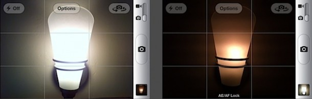 Focus exposure lock iPhone camera