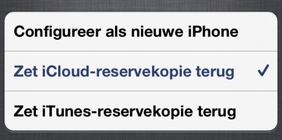 Zet iCloud reservekopie terug