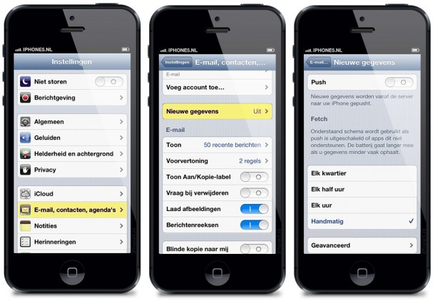 E-mail, contacten en agenda's op iPhone 5 (iOS 6)