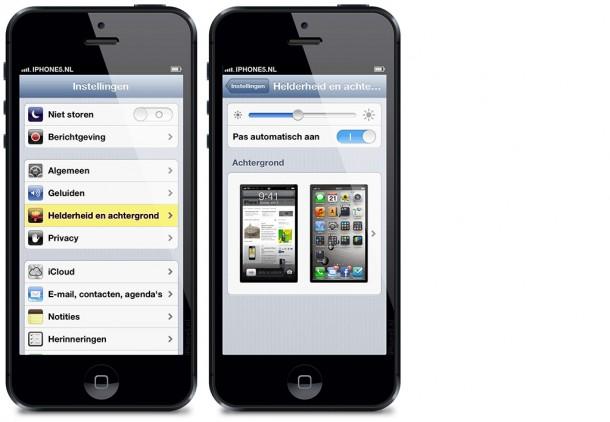 Helderheid en achtergrond op iPhone 5 (iOS 6)