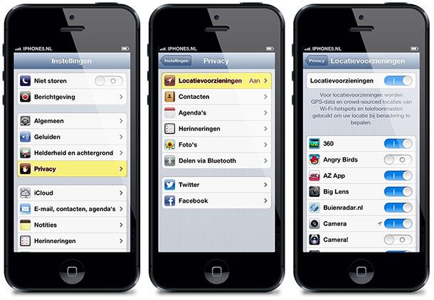Locatievoorzieningen op iPhone 5 (iOS 6)