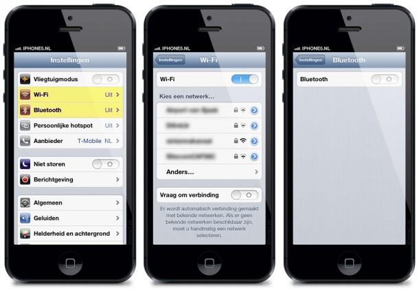 WiFi en Bluetooth op iPhone 5 (iOS 6)