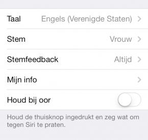 Siri bij oor houden uitschakelen