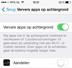 Ververs apps op de achtergrond